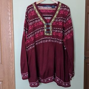 Ribbon and clasp accented Nordic look Sweater
